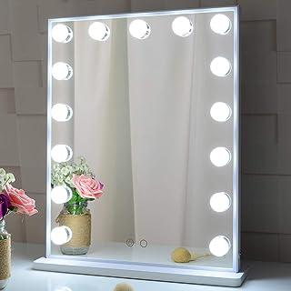 Meetop ハリウッドミラー 化粧鏡 ledライト15個付 2色ライトモード 台座付き 卓上/壁掛け両用 女優ミラー ドレッサー適用(ホワイト)