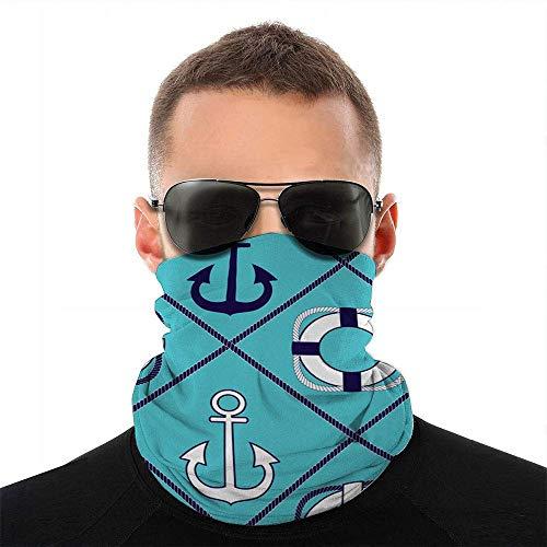GUPENG Dibujo continuo sobre el ancla marítima vintage bufanda de la cara cubierta de deporte al aire libre correr mujeres hombres cubierta de la cara variedad toalla cara cuello diadema negro