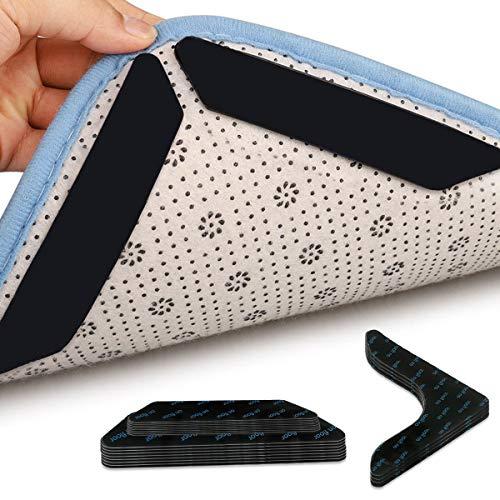 LATTCURE 20 Stück Teppichgreifer Antirutsch, Waschbar Wiederverwendbar Rugs Anti Rutsch Pads Antirutschmatte für Teppich Teppichunterlage Starke Klebrigkeit 3M Klebeband