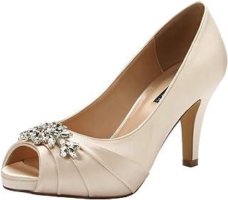 ERIJUNOR Peep Toe Mid Heels for Woman Rhinestones Satin...