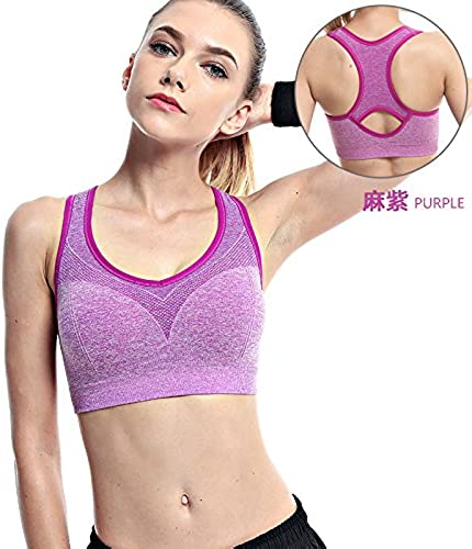 ZHUDJ Les Particules d'un Soucravaten-Gorge De Sport Porteur De Rembourrage pour Yoga Vest Pas l'anneau d'acier De L'été Sports Bra, Violet,70B