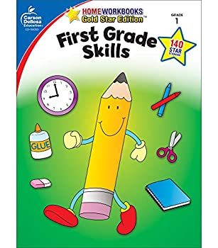 Carson Dellosa First Grade Skills Workbook—Grade 1 Reading Addition Subtraction Graphing Measuring Phonics Writing Skills Practice With Stickers  64 pgs   Home Workbooks