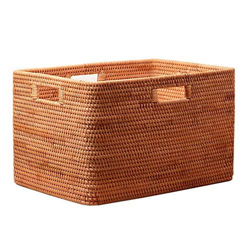 AWYJ Rattan Basket Storage Box Storage Shelf Basket Bin Chest Organizer Kitchen Bathroom Storage Basket Box Perfect Underbed Storage (Color : Natural, Size : 50x33x30cm)