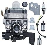 AUMEL Carburador con Filtro de línea de Combustible Kit de Juntas de la Bombilla del cebador de la bujía para Honda GX35 HHT35 HHT35S Desbrozadora WYB-16C Carb reemplaza 16100-Z0Z-034.