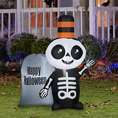 Gemmy 4' Airblown Inflatable Skeleton w/Happy Halloween Tombstone Yard Decoration 224140