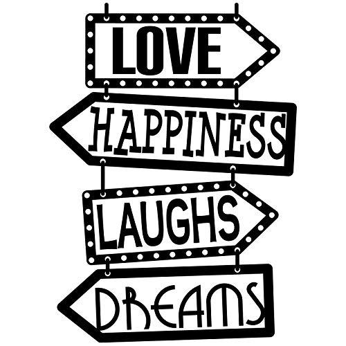 """Docliick® Vinilo de pared decorativo en Inglés""""LOVE, HAPPINESS."""" Pegatinas de pared decorativa de frases celebres.Vinilo decorativo decoración hogar Docliick DC-143-ING"""
