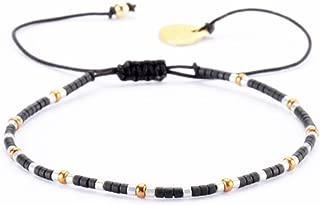 Beaded Friendship-Style Bracelet with Adjustable Closure on Cotton Cording - Black
