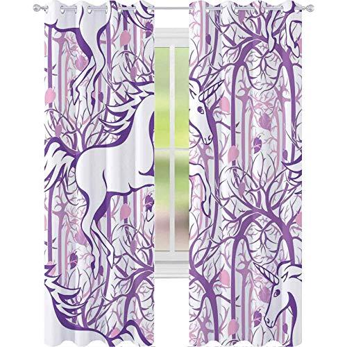 Cortinas para dormitorio, diseño de unicornio en ramas de árbol curvadas en forma de bosque abstracto, impresión artística, 2 paneles de ancho 52 x largo 95 para habitación de bebé, color morado