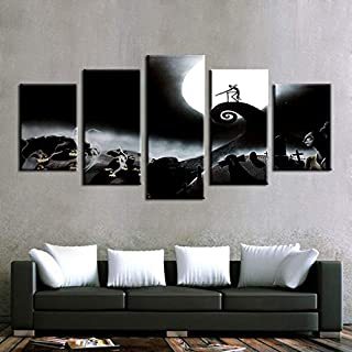 CYZSH Modular Canvas Paintings Home Decor 5 Pieces Nightmare Before Christmas Poster Prints Halloween Pictures Bedroom Wall Art