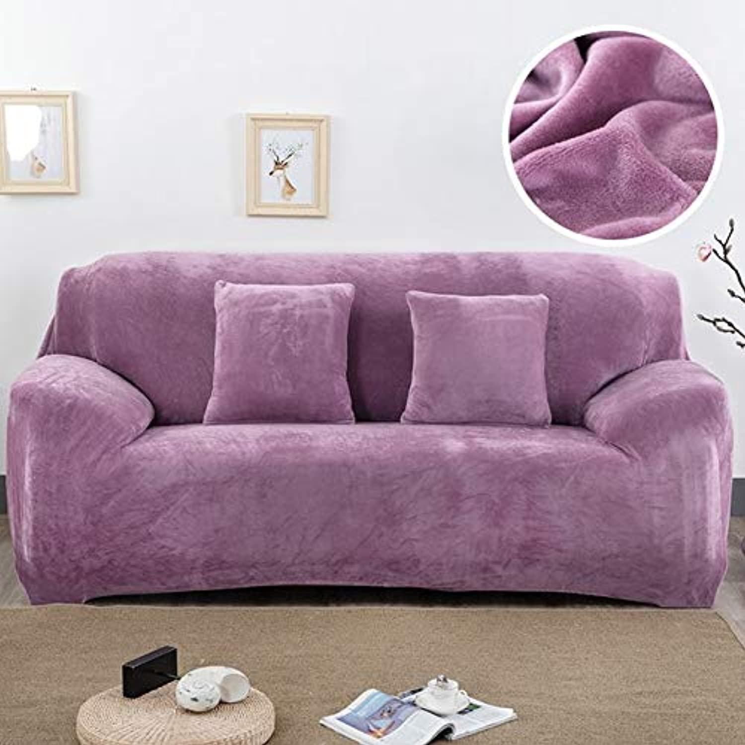 Plush fabirc Sofa Cover 1 2 3 4 Seater Thick Slipcover Couch sofacovers Stretch Elastic Cheap Sofa Covers Towel wrap Covering   Plum, 1 seat 90-140cm
