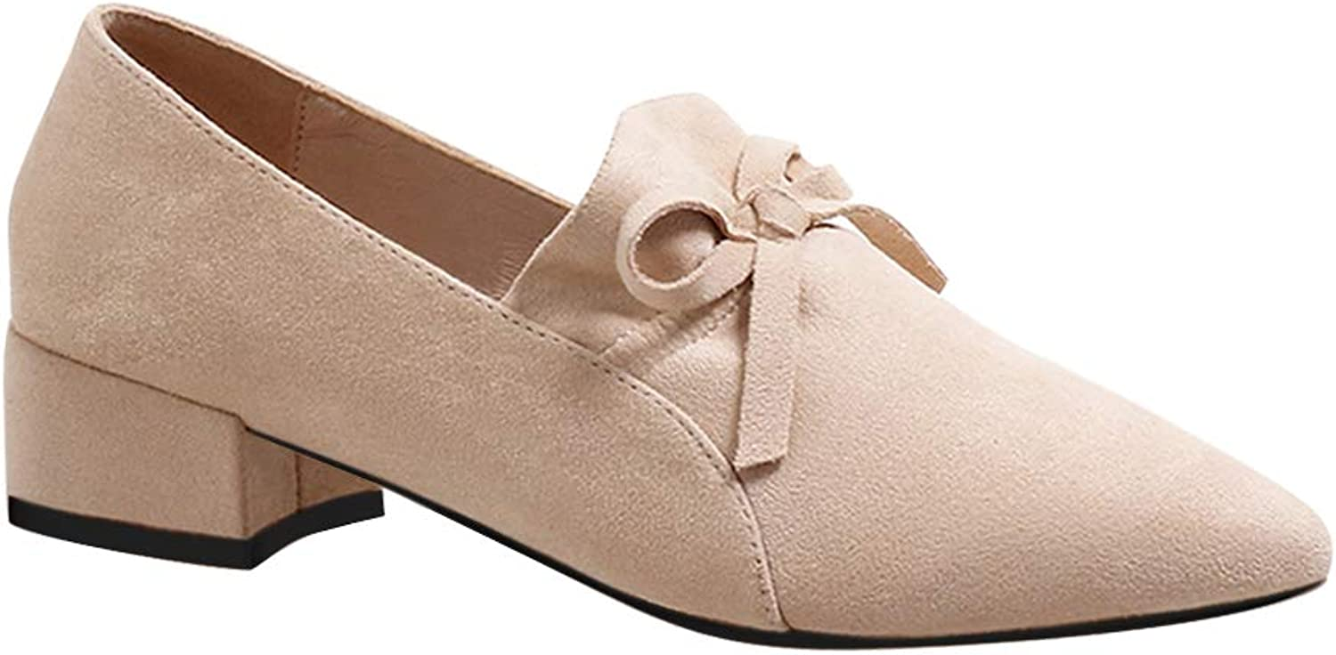 Uirend Womens Bowknot Pointed Casual - Elegant Work Sweet Court shoes Suede Mid Block Heel Pumps Slip On Single Girl Loafers