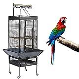 HUOLE Grande Cage/Volière Oiseaux avec Support Détable à roulettes Cage pour Perroquet Gris du Gabon Canaris Parakeet Calopsitte élégante Pinson avec Support Détachable65.5 * 65.5 * 156cm