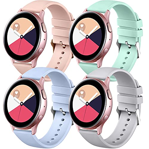 Easuny Compatible for Samsung Galaxy4 Watch Band, 20mm Silicone Quick Release Strap for Galaxy Watch Active 2 40mm 44mm/Galaxy Watch 3 41mm Women Men, 4 Pack of Mint-Green/Pink/Light Blue/Gray Small