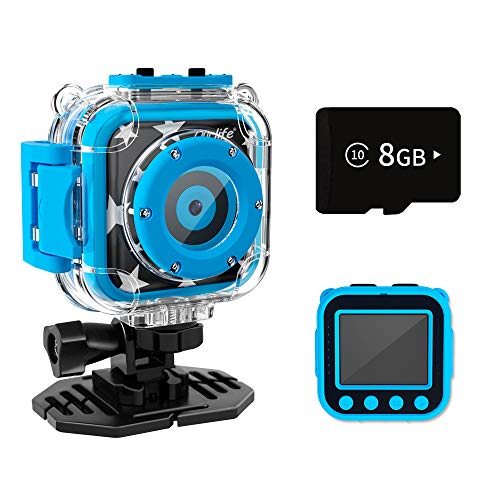Ourlife Kids Waterproof Camera, Kids Camera for 3-12 Year Old Boys Girls Christmas Birthday Gifts Camera for Kids Underwater Sports Camcorder Camera 1.77 Inch Screen with 8GB Card (Blue)