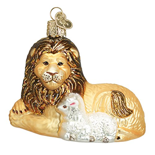 Old World Christmas Spiritual Gifts Glass Blown Ornaments for Christmas Tree Lion Lamb