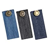 Denim Waist Extender, Waistband Extenders, Button Extender for Pants Jeans Skirt Trousers Pregnancy with Premium Metal Buttons and 2 Button Holes, Set of 3 in Assorted Colors
