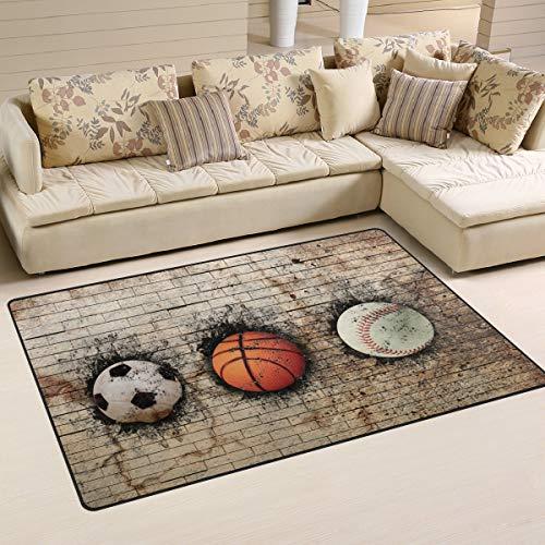 Alfombra de baloncesto vintage 3D de béisbol de fútbol alfombra antideslizante para sala de estar dormitorio 152,4 x 99 cm
