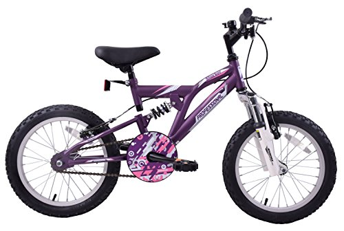 Professional Shocker 16' Wheel Dual Suspension Girls Kids MTB Bike Single Speed Purple/Pink Age 5+