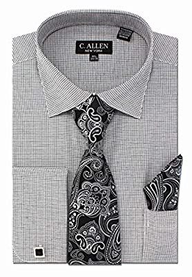 C. Allen Men's Checks Plaid Pattern Regular Fit Dress Shirts with Tie Hanky Cufflinks Combo