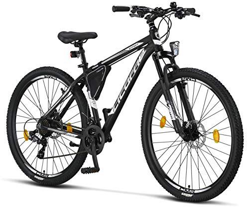 Licorne - Mountain bike Premium per bambini, bambine, uomini e donne, con cambio Shimano a 21 marce, Uomo, nero/bianco (2 freni a disco)., 29 inches