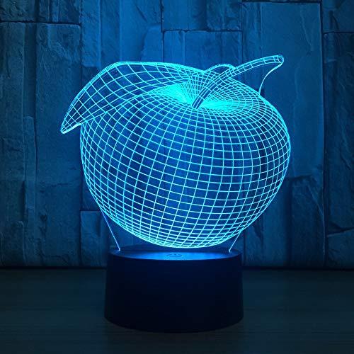 Hqhqhq Forma LED 3D Interruptor de luz de Noche USB 16 Colores lámpara de Frutas Dormitorio lámpara de Noche cumpleaños Vacaciones Paryt atmósfera lámpara con Mando a Distancia -1314