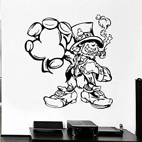 Vinilo de pared Illusionista Cilindro de dibujos animados Vinilo Ventana Vidrio Etiqueta de cristal Niños Niños Dormitorio Nursery Decoración del hogar 60x57cm