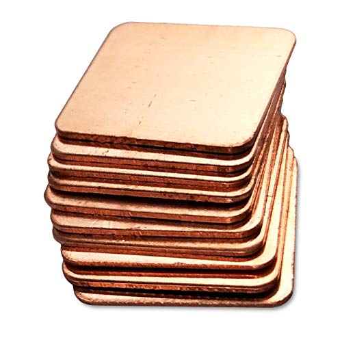 Kupferplättchen [15x15x0,5mm] [10 Stück] Kupfer Copper Pad Heatsink | geeignet für GPU RAM SSD VRAM VRM Steuerplatinen Elektronik LED SMD IC