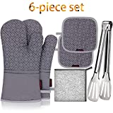 SHAWNTOO Oven Mitts and Pot Holders 6pcs Set, 500℉ Heat Resistant Soft Lining with Non-Slip Surface Oven...