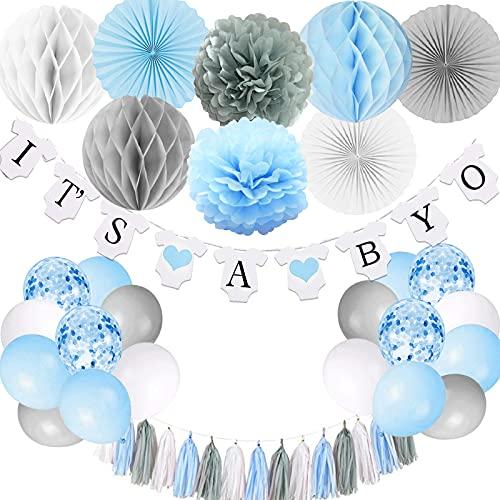 Babyparty-Dekorationen für Jungen, es ist ein Jungen-Banner mit Papierfächer-Gewebe-Pompons Wabenball-Partyballons Folienquaste, blau und grau Es ist ein Jungen-Babyparty-Dekorationen