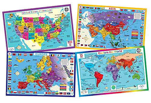 Tot Talk Educational Kids Placemats - Geography Set of 4 Maps: USA, World, Asia, Europe - Reversible Activities - Waterproof, Washable, Wipeable, Durable, Double-Sided Table Mats, Made in The USA