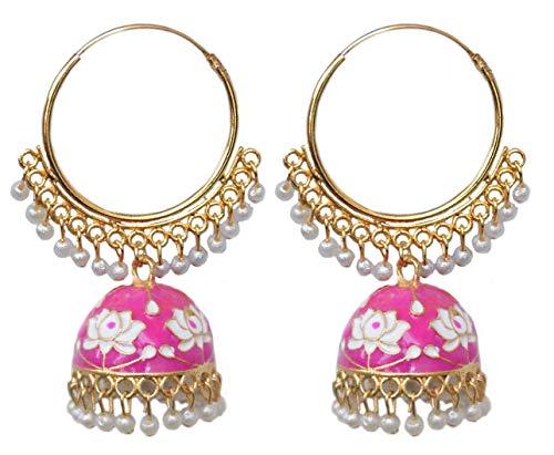 Pahal - Pendientes de aro Jhumka étnico Jaipur rosa blanco Meenakari esmaltados indios pintados de oro grande Jhumka, joyería de novia blanca para mujer