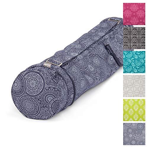 Yoga-Tasche ASANA Bag, Maharaja Collection, 100% Baumwolle (Köper), Für Matten bis 80 cm Breite, 5 mm Dicke und 200 cm Länge (80 cm, Mandala/dunkelblau)