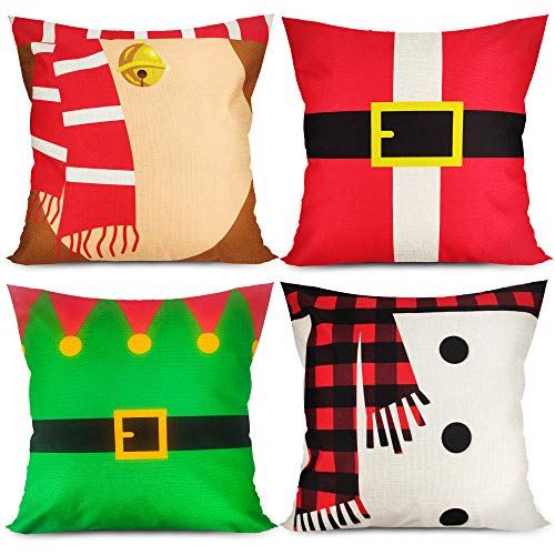 Christmas Pillow Covers 18 x 18 inches Cute Xmas Pillow Covers Set of 4 Holiday Cartoon Pillow Cushion Covers Christmas Throw Pillow Covers Snowman Santa's Elf for Sofa Couch Bedroom Outdoors