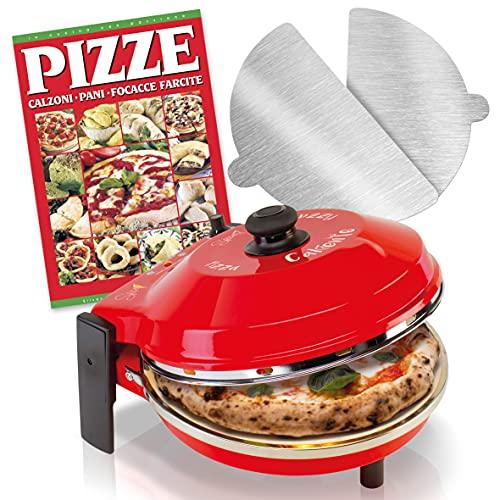 SPICE - Forno Pizza CALIENTE con pietra refrattaria 400 gradi Resistenza circolare + 2 Palette Inox + Ricettario PIZZE