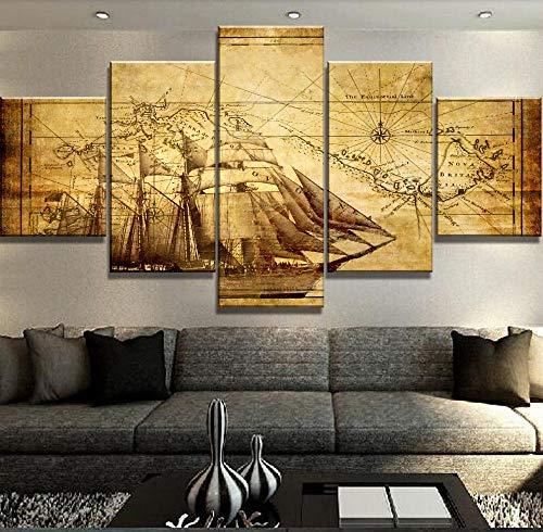 QZWXEC Leinwandbilder 5 teilig Alter Navigator wandkunst malerei leinwandbilder 5 Panels Moderne Dekorative 5 Stücke Bild Kunstwerk Gemälde Auf Leinwand Wandkunst Hauptdekorationen Wanddekor