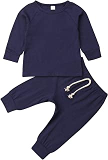 Baby Boy Girl Solid Color Clothes Tops with Pants Set 2 Piece Organic Cotton Fall Winter Outfits