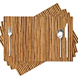Soopat Bamboo Pattern Placemat,Bamboo Wall Texture Interior Wood Jungle Japanese Natural Asia Asian 18 X 12 Inches Set of 4 Place Mats for Dining Table Decor,Bamboo Pattern