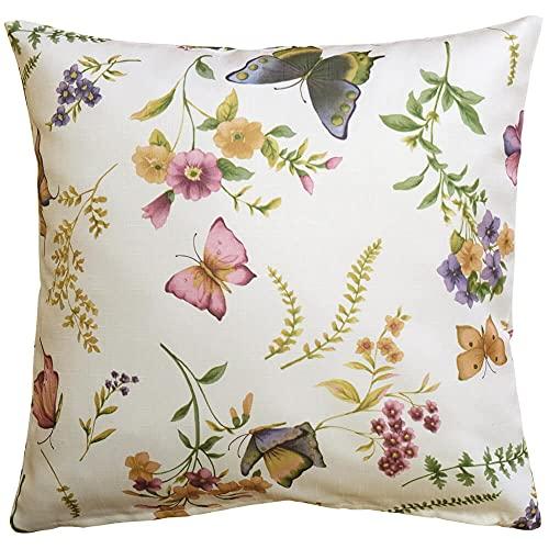 Matches21 - Funda de cojín textil para el hogar, impresión multicolor con mariposas y flores, 40 x 40 cm, poliéster