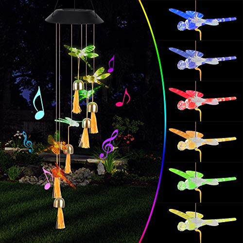 Oursunshine Wind Chimes Luz Solar LED para Exteriores, Lámpara Giratoria Que Cambia de Color con Campana, Adornos Decorativos de Jardín a Prueba de Agua para Patio, Valla, Regalos para Novia, Mamá