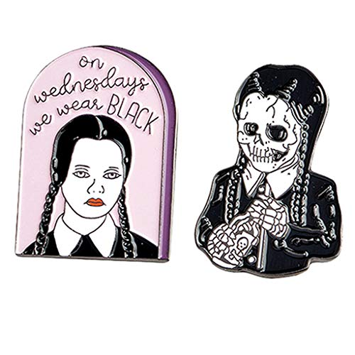 Baoblaze 2Pcs Miércoles Addams Broche Creativo Divertido Broche Pin Solapa Pin Collar Consejos