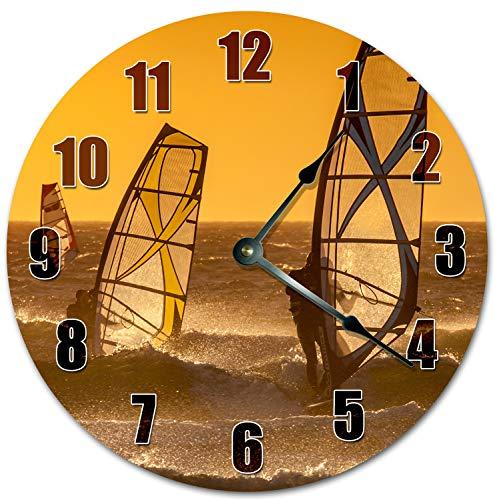 Reloj de pared redondo de 30,5 cm, funciona con pilas, con números arábigos, reloj de windsurf, decoración del hogar