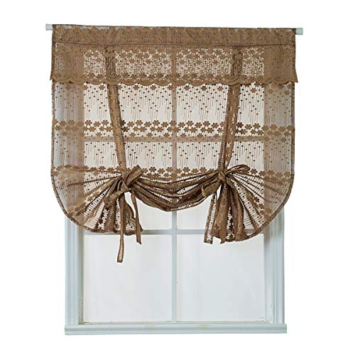 HomeyHo Sheer Lace Balloon Curtain for Kitchen Window Jacquard Roman Curtain with Valance Attached Floral Farmhouse Tie Up Curtains 46 Wide 63 Inch Length Coffee