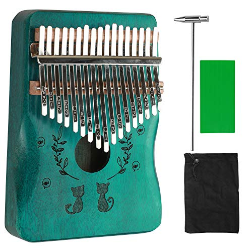 Kalimba Thumb Piano 17 key Marimba Wood Mbira Hand Rest Portable Mahogany African Finger Piano Pocket Music Instrument with Instruction Carrying Bag for Gig Party Kid Beginners Gift