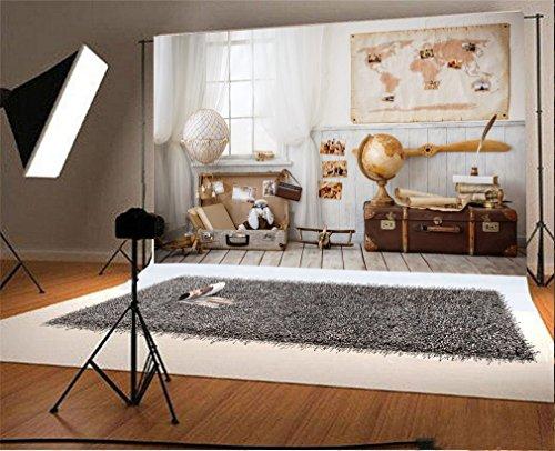 YongFoto 2,2x1,5m Fondos Fotograficos Cortina Blanca del Interior del Mapa del Mundo Vintage Stripes Wood Floor Fondos para Fotografia Fiesta Niños Boby Boda Retrato Estudio Fotográfico Accesorios
