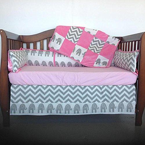 Affordable Crib Set 4pc/ Nursery Bedding/Grey Elephant/Grey Chevron/Fuschia
