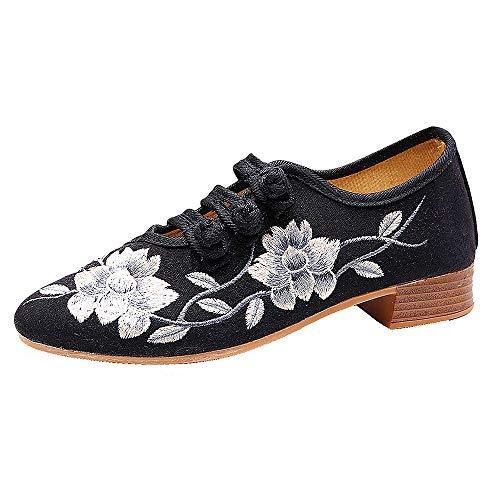 CXYY Bestickte Schuhe, Bestickte Chinesische Blumenschuhe Für Frauen, rutschfeste Gummisohle Und Exquisite Handstick-Tanzschuhe,Schwarz,EU39