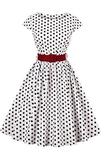 MisShow Damen elegant Vintage 50er Petticoat Kleider Gepunkte Rockabilly Swing Kleider Festlich Cocktailkleider Weiss Gr.L