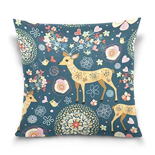 Yuanmeiju Throw Pillow Cover 18x18 inch, Floral Animal Sika Deer Decorative Pillow Cases Cushion Cover for Couch Sofa Bed Home