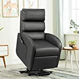 Flamaker Power Lift Recliner Chair for The Elders PU Leather with Lumbar Massage Modern Style Sofa Chair with Side Pocket Single Lounge Chair for Living Room Home Theater Seating (Black)