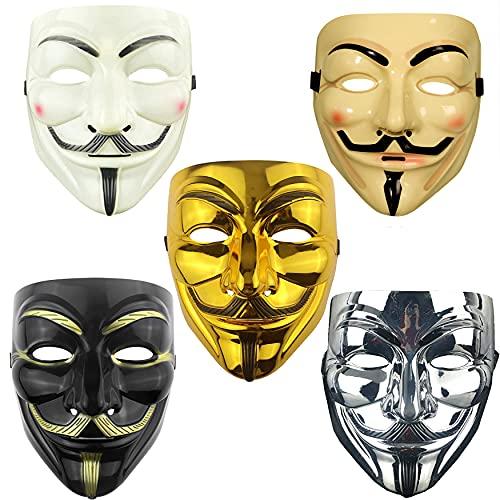 Awasa 5 Packs Hacker Mask Vendetta Mask Anonymous V Halloween Mask (5-Pack)